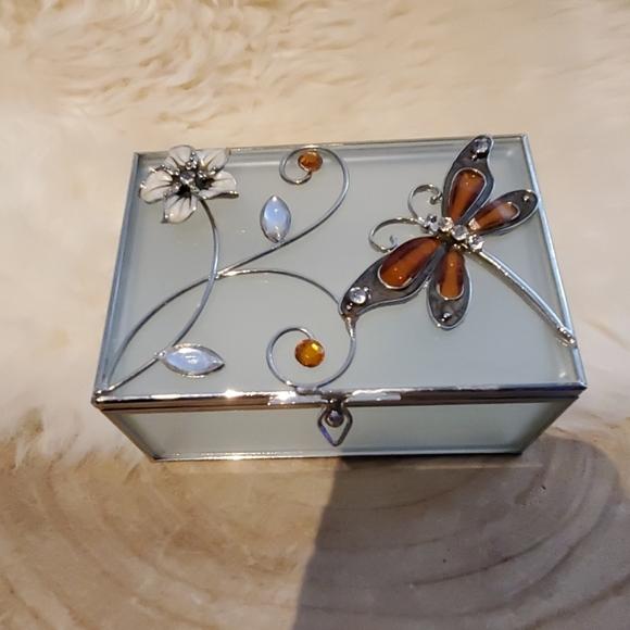 Glass jewelry box Dragonfly
